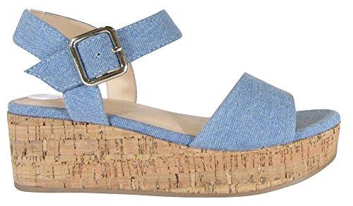 Cambridge Select Womens Open Toe Single Band Buckled Ankle Strap Chunky Platform Wedge Sandal Light Blue Denim 076hF