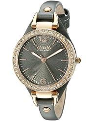 SO&CO New York Womens 5061.1 SoHo Quartz Rose Tone Case Grey Slim Leather Strap Watch