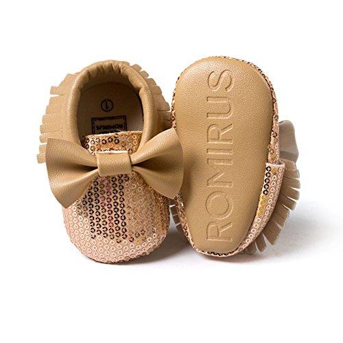 ESHOO bebé niños niñas borla flecos Mocasín Lazo suave suela zapatos de sintética rosa rosa Talla:0-6 meses caqui