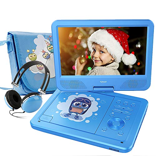 FUNAVO 10.5 Portable DVD Player with Headphone, Carring Case, Swivel Screen, 5 Hours Rechargeable Battery, SD Card Slot and USB Port (Blue)
