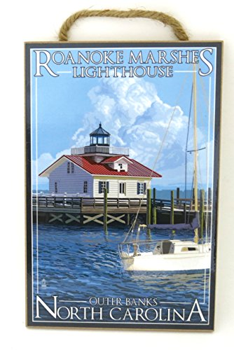 North Carolina, Outer Banks Roanoke Marshes Lighthouse, Souvenir Sign , wood wall plaque size 10.5