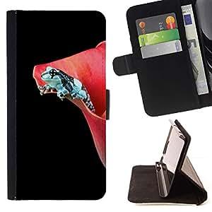 For Sony Xperia M4 Aqua Case , Flor Negro rana oscuro minimalista- la tarjeta de Crédito Slots PU Funda de cuero Monedero caso cubierta de piel