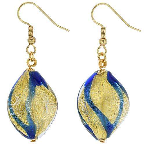 - GlassOfVenice Murano Glass Royal Blue Spiral Earrings
