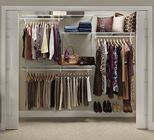 ClosetMaid 22875 ShelfTrack 5ft. to 8ft. Adjustable Closet Organizer Kit, White (Closetmaid Organizers)