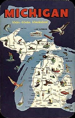 Water- Winter Wonderland Maps Michigan Original Vintage Postcard - Michigan Antique Map