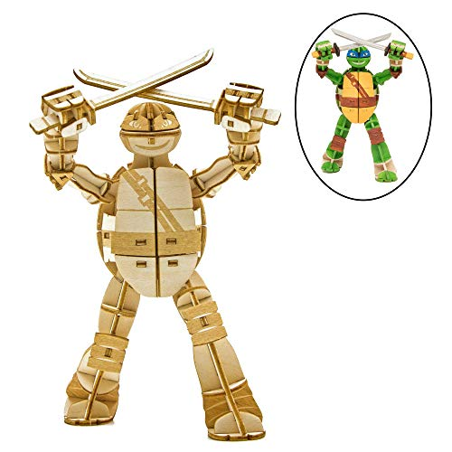 Teenage Mutant Ninja Turtles Leonardo 3D Wood Model Figure Kit - Build, Paint and Collect Your Own Wooden Model - Great for Kids and Adults, 12+ - 5.5