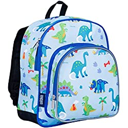 Wildkin 12 Inch Backpack, Includes Insulated, Food-Safe Front Pocket and Side Mesh Water Bottle Pocket, Perfect for Preschool, Daycare, and Day Trips, Olive Kids Design – Dinosaur Land