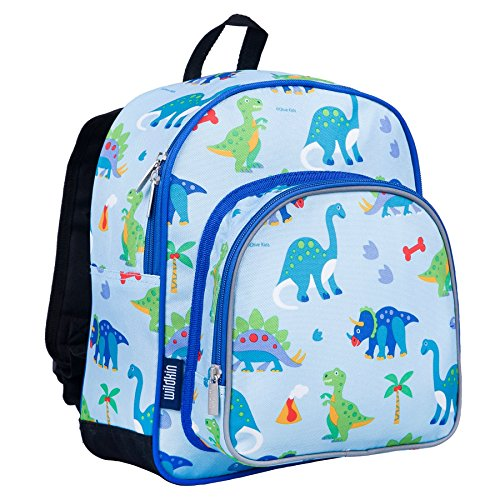 Wildkin 12 Inch Backpack, Includes Insulated, Food-Safe Front Pocket and Side Mesh Water Bottle Pocket, Perfect for Preschool, Daycare, and Day Trips, Olive Kids Design – Dinosaur Land ()