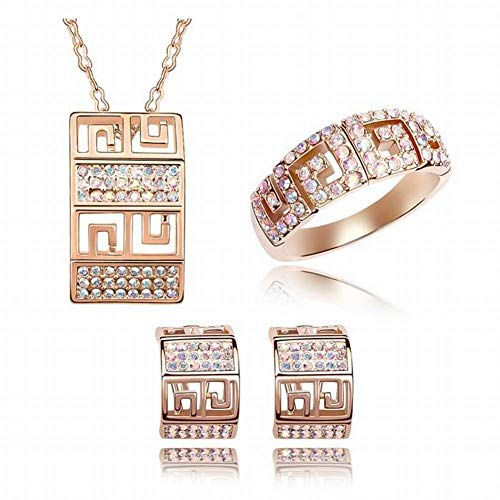 (HOX Jewelry Austria Crystal Jewelry Set Exaggerated Cutout Geometric Necklace Earrings Two-Piece Set Alloy Crystal Alloy Rose Gold Plated, Colorful white,)