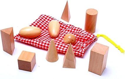 Wenini Wooden Montessori Mystery Bag Geometry Blocks Set Educational Cognitive Toys 10pcs//Set Yellow