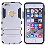 Cuitan 2 in 1 Dual Layer Hybrid Case for iPhone 6 Plus / 6S Plus, TPU Soft Bumper and PC Hard Back Cover Built-in Kickstand Design Armor Rugged Defender Protective Shell Cover Protection Sleeve with Stylus (Random Color) for Apple iPhone 6 Plus / 6S Plus 5.5 inch - Silver