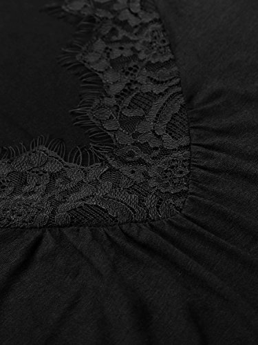 WAJAT - Camiseta Top para Mujer Escote V Mangas Acampanadas Negro