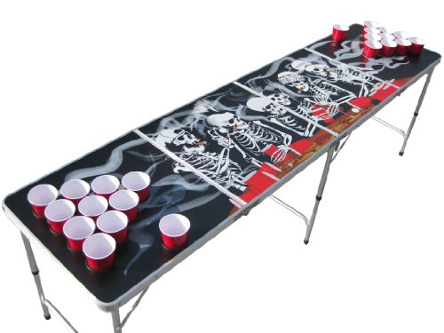 (The Pong Squad Bones Skeleton Beer Pong Table with Holes)