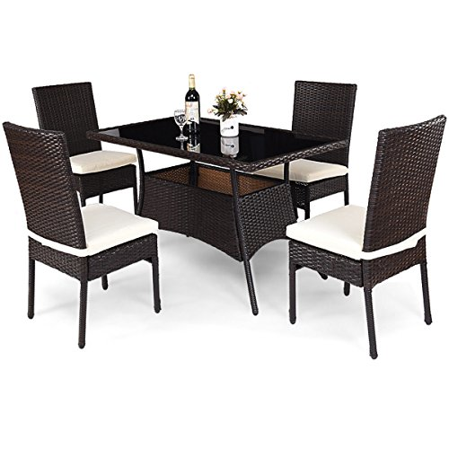 TANGKULA Patio Furniture 5 PCS Outdoor Balcony Wicker Rattan Dining Set