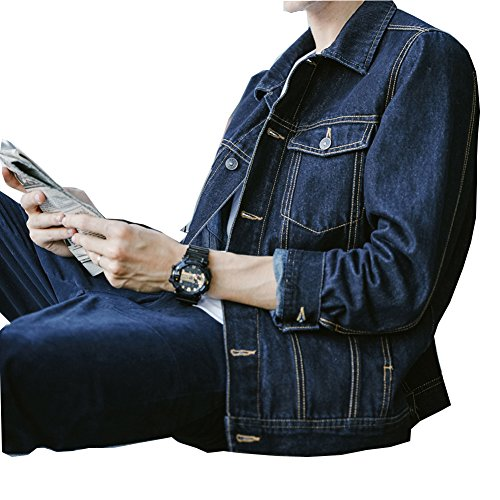SHAREWIN Mens Denim Jacket Rugged Long Sleeve Blue Jean Jackets for Men by SHAREWIN