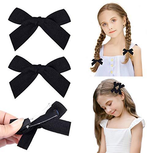 DEEKA 2 Pack Hair Clip Hair Bows Fringe Clip for Little Girls - Solid Black
