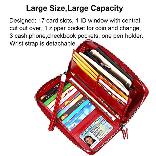 Dante Women's RFID Blocking Real Leather Zip Around Wallet Clutch Large Travel Purse Wristlet(Large Size Red)