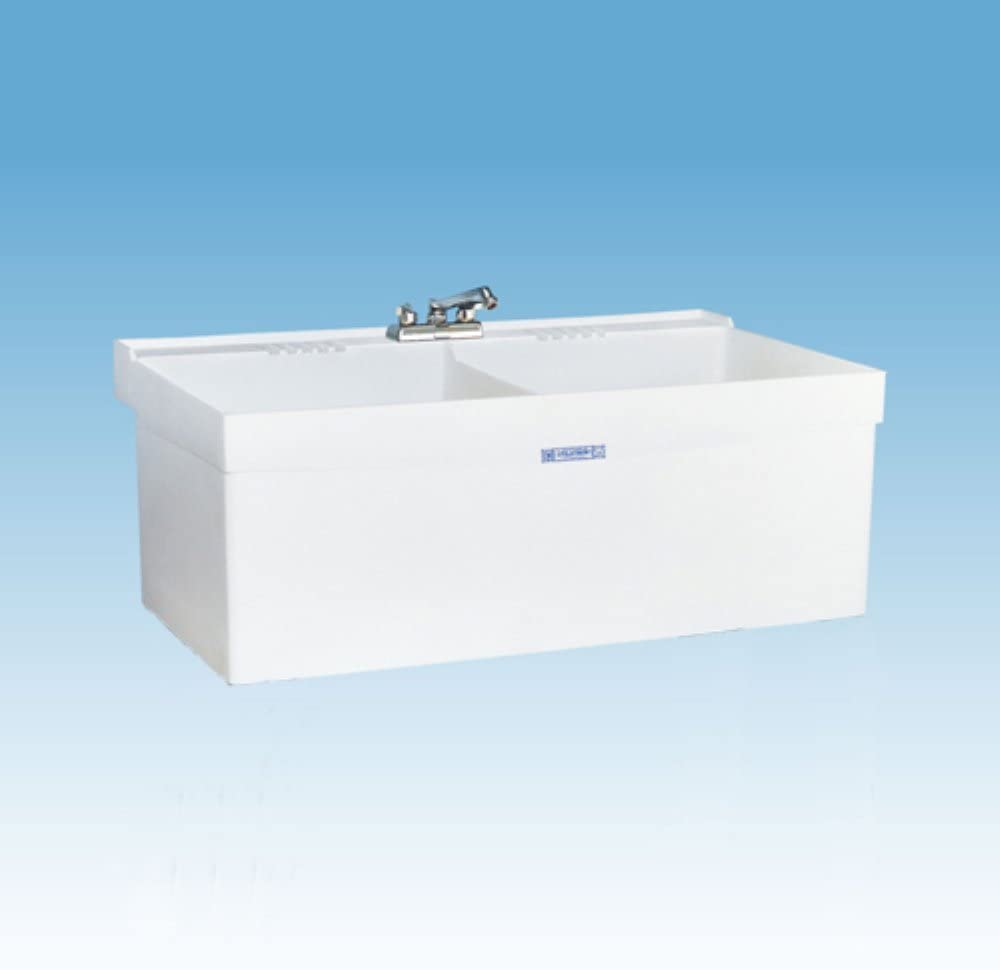 Mustee 27W Composite 2-Basin Wall Mount Tub Utility Sink with Drain, White
