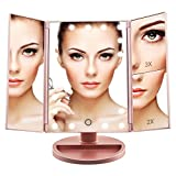 Makeup Dresser with Lights Artifi Lighted Makeup Mirror with 21 LED Lights, Touch Screen Lighted Vanity Mirror with 3X/2X/1X Magnification, 2 Power Supply Mode Makeup Mirror (Rose Gold)