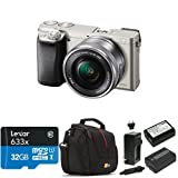 Sony Alpha a6000 Mirrorless Digital Camera with 16-50mm Power Zoom Lens (Silver) Deluxe Bundle