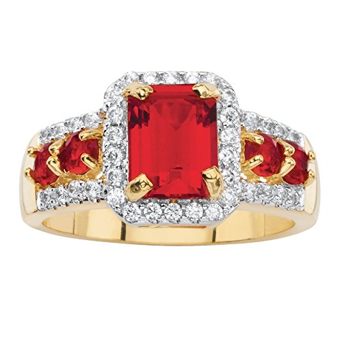 Simulated Ruby Cocktail Ring (Emerald-Cut Simulated Red Ruby 18k Yellow Gold-Plated Halo Cocktail Ring Size 8)