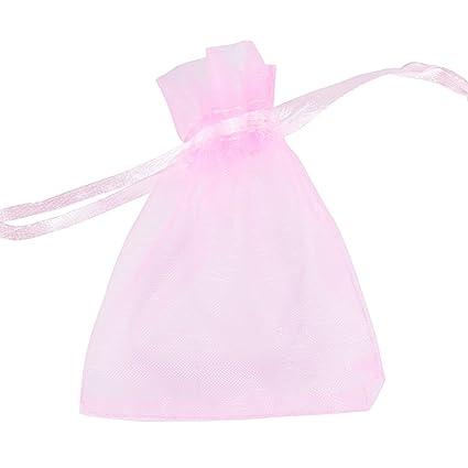 100pcs(7x9cm) Bolsa Organza Bolsitas Regalo Caramelos Dulces Chuches Joyas Detalle Boda Bautizo Fiesta Cumpleaños Color Rosa