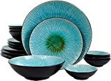 Gibson Shangri-La Court Turquoise Double Bowl 16-Piece Set