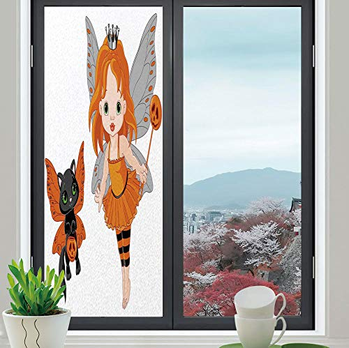 YOLIYANA Privacy Frosted Decorative Vinyl Decal Window Film,Halloween,for Bathroom, Kitchen, Home, Easy to Install,Halloween Baby Fairy and Her Cat in Costumes,24''x70''