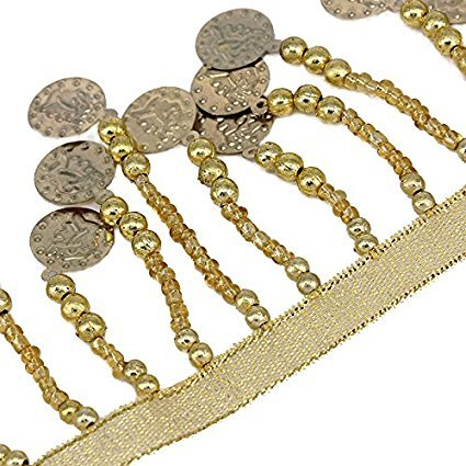 Resources House Gold Beads Trim Fringe Trimming Tassel Trim Belly Dance Dress Costume Coins Trim DIY Supplies for Craft Dancewear 1yard