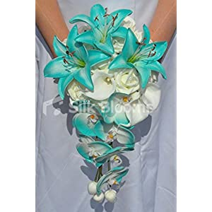 Jade Artificial Stargazer Lily and Orchid Cascade Bridal Bouquet with Ivory Roses and Calla Lilies 1