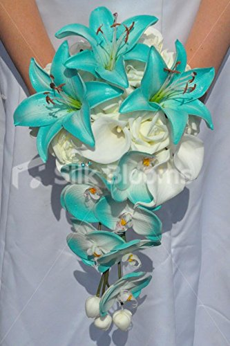 Jade Artificial Stargazer Lily and Orchid Cascade Bridal Bouquet with Ivory Roses and Calla Lilies by Silk Blooms Ltd