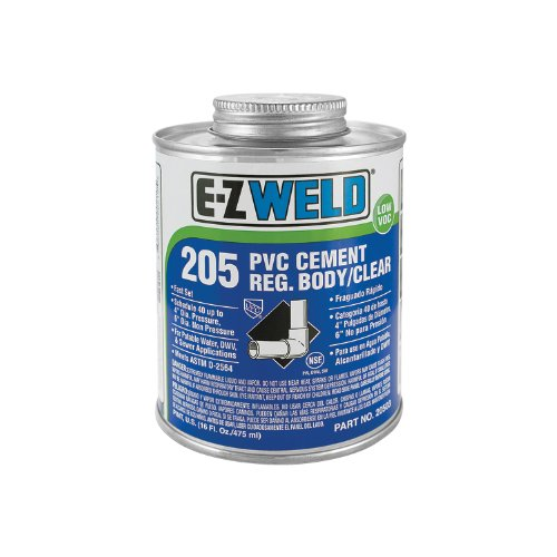 (E-Z Weld 20501 PVC Cement, 32 Degree F to 110 Degree F Application Temperature, 4 fl oz Can, Clear (Case of 24))