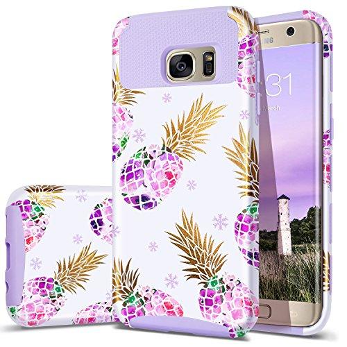 S7 Edge Case,Pineapple Galaxy S7 Edge,Fingic Cute Design Thin Case 2 in 1 Hybrid Case Hard Back&Soft Silicone Raised Edge Shock Absorption Protective Cover for Samsung Galaxy S7 Edge,Purple
