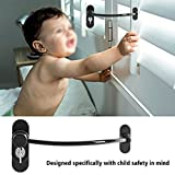 Window Door Restrictor Cable,Zinc Alloy Window Door Opening Restrictor Cable Baby Child Safety Lock Catch Wire for Baby Toddler Safety(Black)