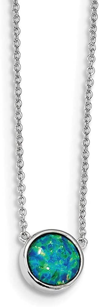 10mm 925 Sterling Silver Rhodium-plated Simulated Blue Opal Necklace 18 Inch