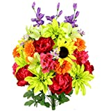 Admired By Nature 36 Stems Artificial New Dahlia, Sunflower, Peony, Hydrangea Mixed Flower Bush Greenery for Memorial Day, Cemetery, Home Office, Wedding, Restaurant Decor, Country