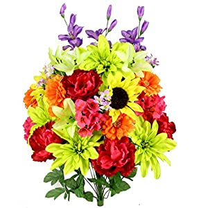 Admired By Nature 36 Stems Artificial New Dahlia, Sunflower, Peony, Hydrangea Mixed Flower Bush Greenery for Memorial Day, Cemetery, Home office, Wedding, Restaurant Decor, Country 23