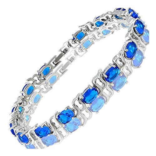RIZILIA Tennis Bracelet & Oval Cut CZ [Simulated Blue Sapphire] in White Gold Plated, 7