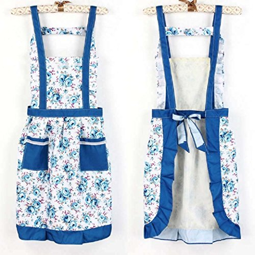 [Iuhan Fashion Korean Princess Aprons Double Widening Strap Rose Waterproof Aprons (Blue)] (1950s Geek Costume)