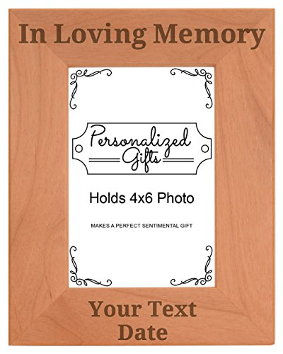 Custom Name Remembrance Gifts for Mom or Dad Custom Name In Loving Memory Engraved Remembrance Gifts Natural Wood Engraved 4x6 Portrait Picture Frame (Pink Casket Spray Flowers)