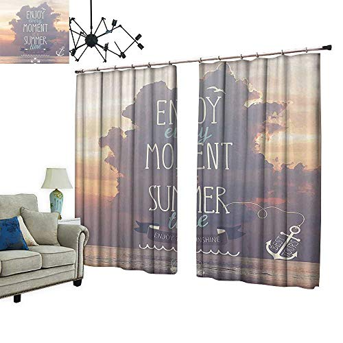 Waterproof Window Curtain Quotes Vacations Getaways Dream Words Summer Time House Ideas Wall Photo Art Sleep Well Blackout Curtain wuth Hook for Bedroom,W72 xL108