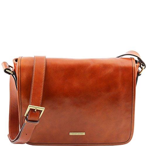 Tuscany Leather - TL Messenger -Bolso en piel con bandolera 1 compartimento - Tamaño medio Marrón - TL141301/1 Miel