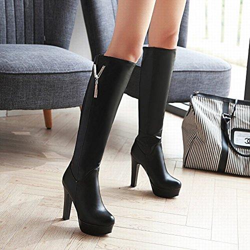 Mee Shoes Damen high heels Plateau langschaft Stiefel Schwarz