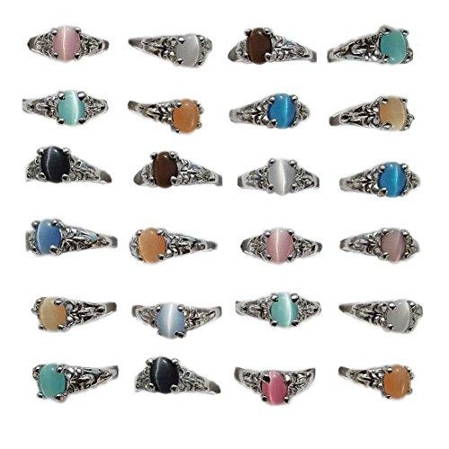 AIHIQI New Wholesale Lots 50/100PCS Mixed Colorful Finger Ring Jewelry (Amount=100pcs (no Box)