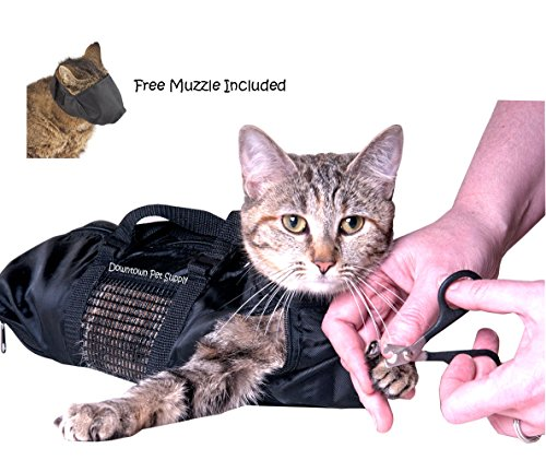 Downtown Pet Supply Cat Grooming Bag - LARGE, cat restraint bag + FREE Cat Muzzle by
