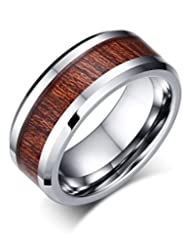 MG Jewelry Unisex 8mm Wood Inlay Koa Tungsten Carbide Wedding Ring Bands for Men Women