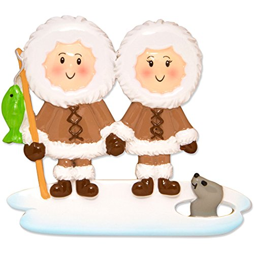 Personalized Eskimo Family of 2 Christmas Ornament - Cute Couple Friends Brown Fishing on Ice Seal - Romantic First Holiday Winter Fun Siblings Tradition Alaska Cold Canada - Free Customization (Two)