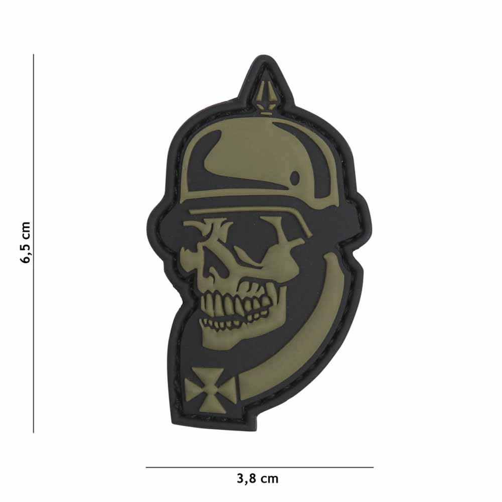 VAN OS Emblem 3D PVC Patch German Skull Grau #2067
