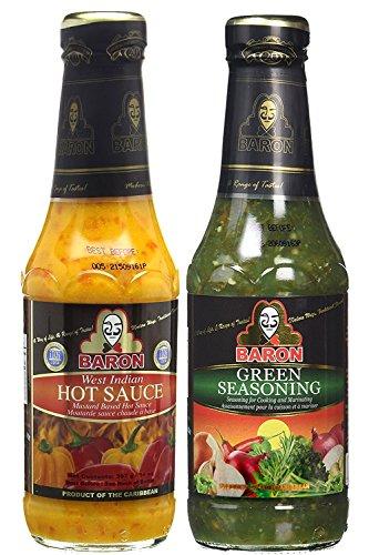 Baron West Indian Hot Sauce and Green Seasoning 14oz (Pack of (Hot Sauce Seasoning)