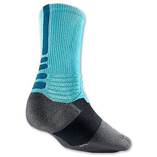 Nike Men's Hyper Elite Basketball Crew Socks X-Large (Fits Size 12-15) Glacier Ice, Teal, Gray